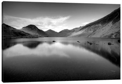 Lake And Mountains B&W Canvas Art Print