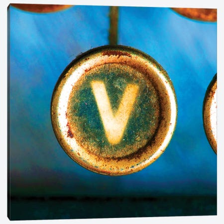 Letter V Of Typewriter 'Love' Canvas Print #TQU154} by Tom Quartermaine Canvas Art