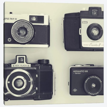 4 Vintage Cameras Canvas Print #TQU15} by Tom Quartermaine Canvas Art