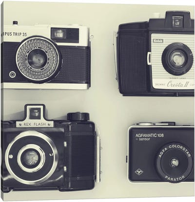 4 Vintage Cameras Canvas Art Print
