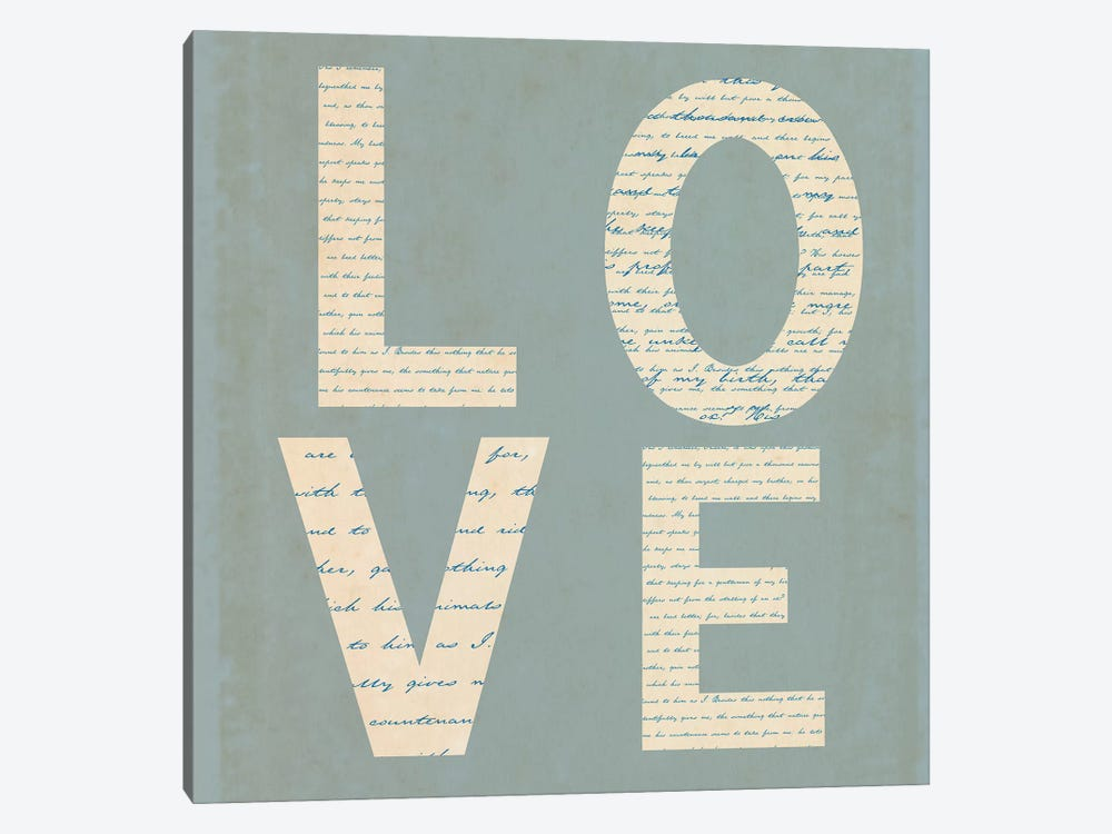Love Script On Blue by Tom Quartermaine 1-piece Canvas Art Print