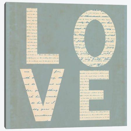 Love Script On Blue 3-Piece Canvas #TQU162} by Tom Quartermaine Canvas Artwork