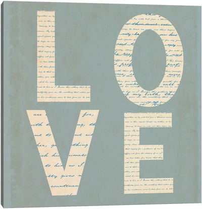 Love Script On Blue Canvas Art Print