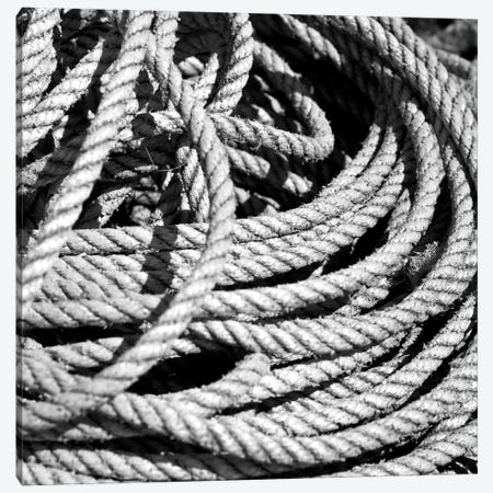 Old Rope B&W Canvas Print #TQU169} by Tom Quartermaine Canvas Art