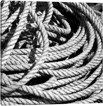 Old Rope B&W Canvas Art Print
