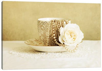 Antique Cup And Saucer With White Flower And Pearls Canvas Art Print