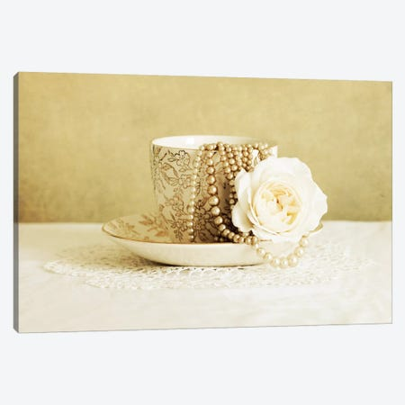 Antique Cup And Saucer With White Flower And Pearls 3-Piece Canvas #TQU16} by Tom Quartermaine Canvas Wall Art