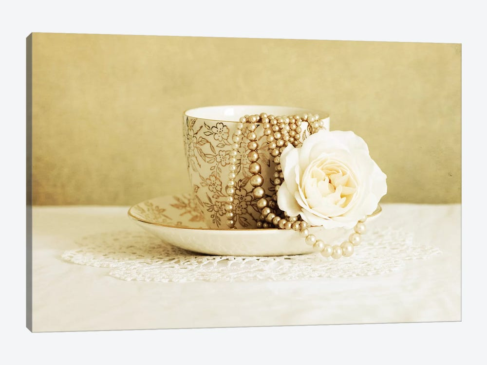 Antique Cup And Saucer With White Flower And Pearls by Tom Quartermaine 1-piece Canvas Wall Art