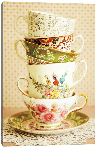 Antique Cups And Saucers I Canvas Art Print