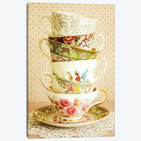 Antique Cups And Saucers I 3-Piece Canvas #TQU17} by Tom Quartermaine Canvas Wall Art