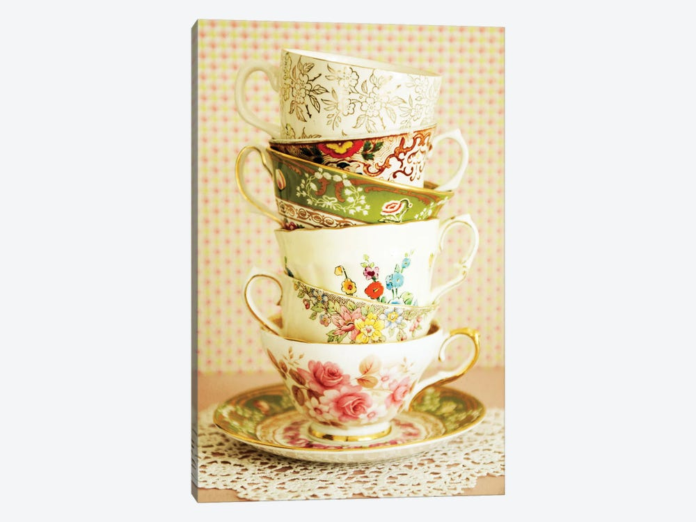 Antique Cups And Saucers I by Tom Quartermaine 1-piece Canvas Art Print
