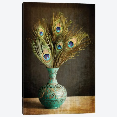 Peacock Feathers In Blue Vase Canvas Print #TQU187} by Tom Quartermaine Canvas Print