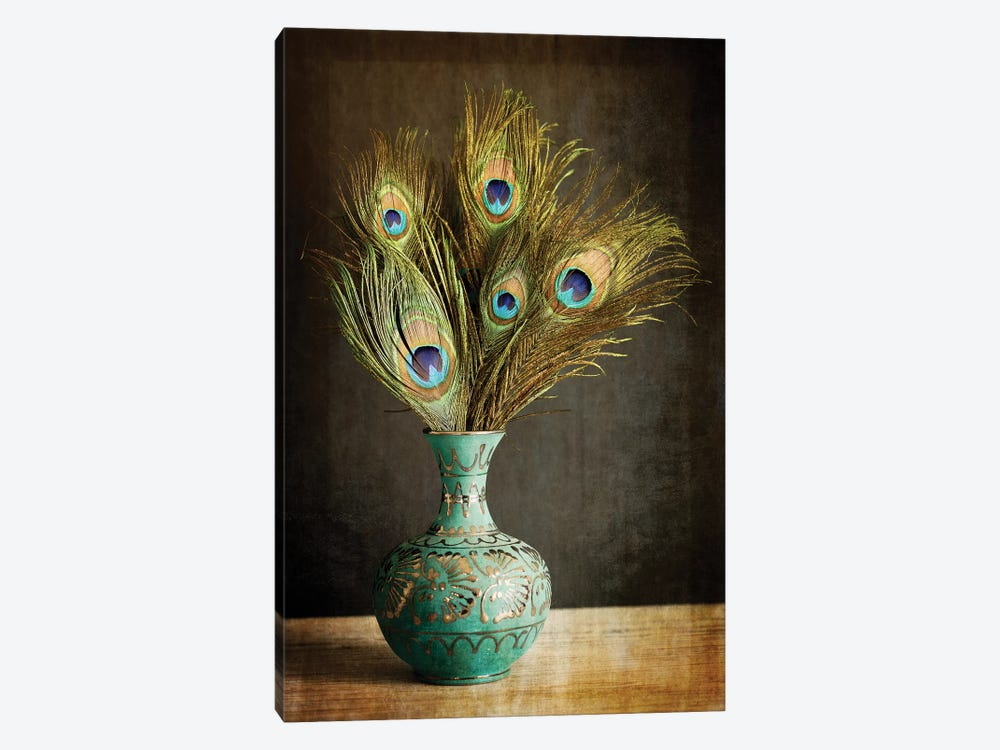 Peacock Feathers In Blue Vase by Tom Quartermaine 1-piece Canvas Artwork