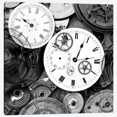 Pieces Of Old Watch B&W Canvas Print #TQU189} by Tom Quartermaine Canvas Wall Art