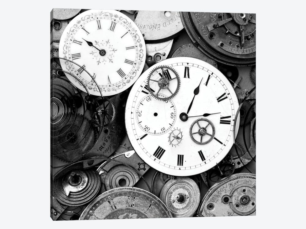 Pieces Of Old Watch B&W by Tom Quartermaine 1-piece Canvas Artwork