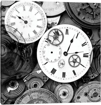 Pieces Of Old Watch B&W Canvas Art Print
