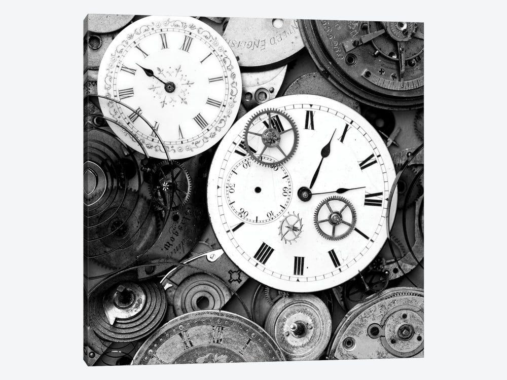 Pieces Of Old Watch B&W by Tom Quartermaine 1-piece Canvas Artwork