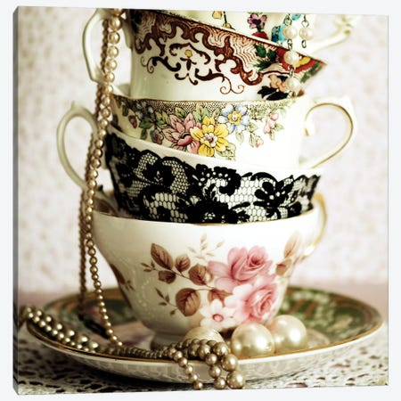 Antique Cups And Saucers With Pearls I 3-Piece Canvas #TQU18} by Tom Quartermaine Canvas Art Print