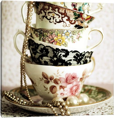 Antique Cups And Saucers With Pearls I Canvas Art Print