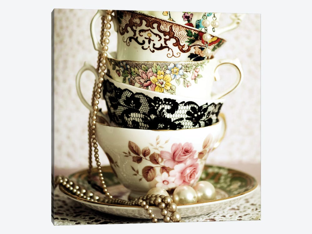 Antique Cups And Saucers With Pearls I by Tom Quartermaine 1-piece Canvas Art