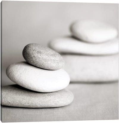 Piles Of Stones B&W I Canvas Art Print