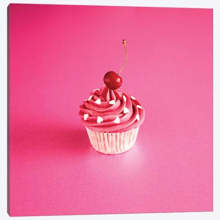 Pink Cake On Pink With Cherry Canvas Print #TQU194} by Tom Quartermaine Canvas Art