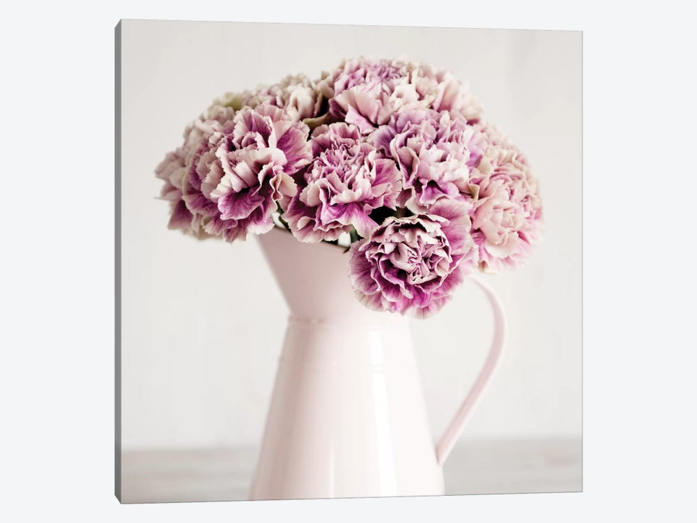 Pink Carnations In A Pink Jug by Tom Quartermaine 1-piece Canvas Wall Art