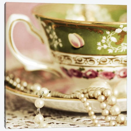 Antique Cups And Saucers With Pearls II Canvas Print #TQU19} by Tom Quartermaine Canvas Art Print