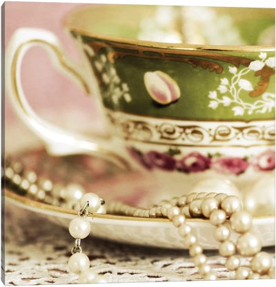 Antique Cups And Saucers With Pearls II Canvas Art Print