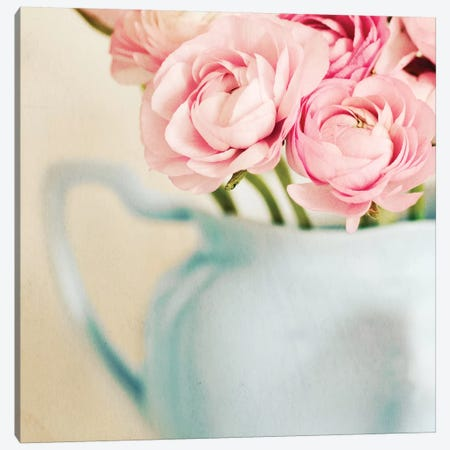 Pink Flowers In Blue Jug Canvas Print #TQU204} by Tom Quartermaine Canvas Wall Art