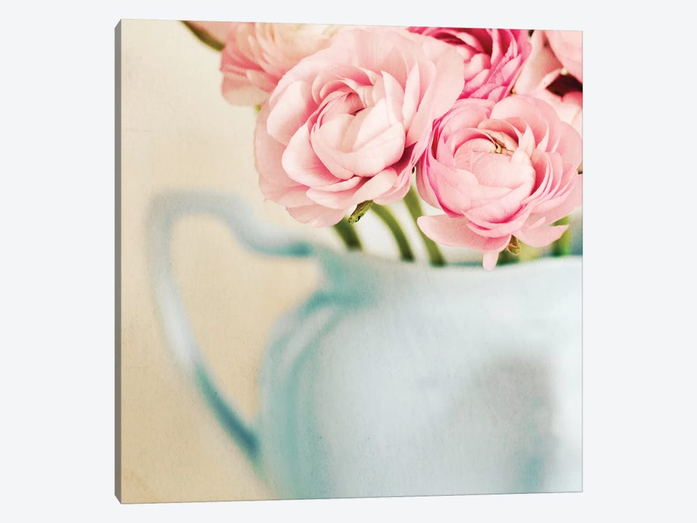Pink Flowers In Blue Jug by Tom Quartermaine 1-piece Canvas Print