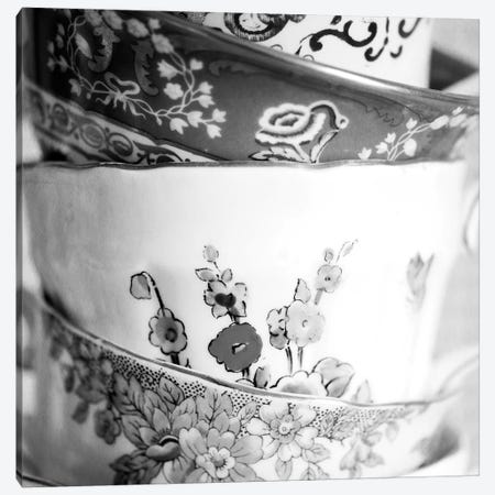 Antique Cups B&W Canvas Print #TQU20} by Tom Quartermaine Canvas Artwork