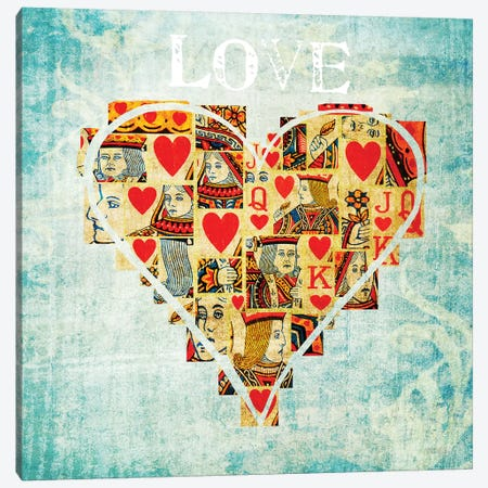 Playing Card Love Canvas Print #TQU212} by Tom Quartermaine Canvas Artwork