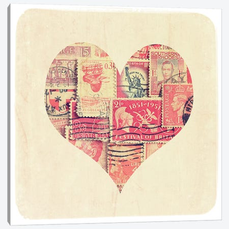 Postage Stamp Heart Canvas Print #TQU216} by Tom Quartermaine Canvas Art Print