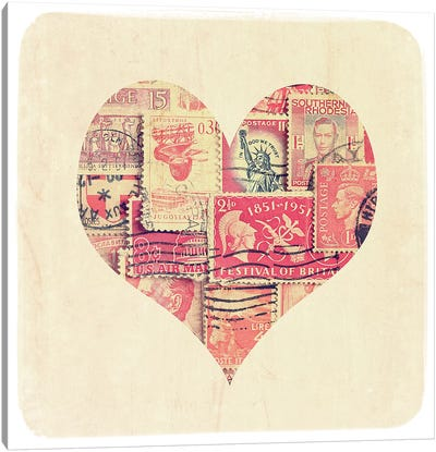 Postage Stamp Heart Canvas Art Print