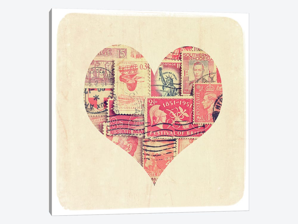 Postage Stamp Heart by Tom Quartermaine 1-piece Canvas Artwork