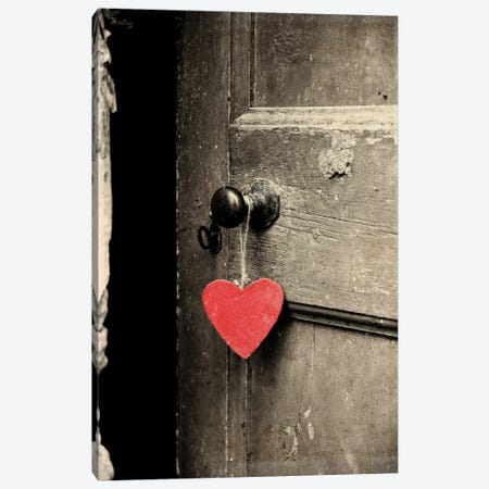 Antique Door With Red Heart Canvas Print #TQU21} by Tom Quartermaine Canvas Art