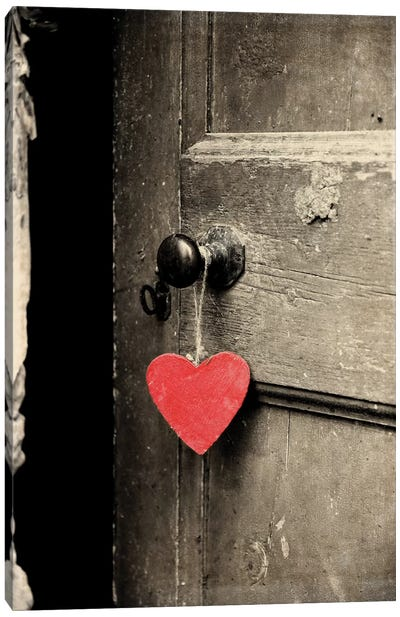 Antique Door With Red Heart Canvas Art Print