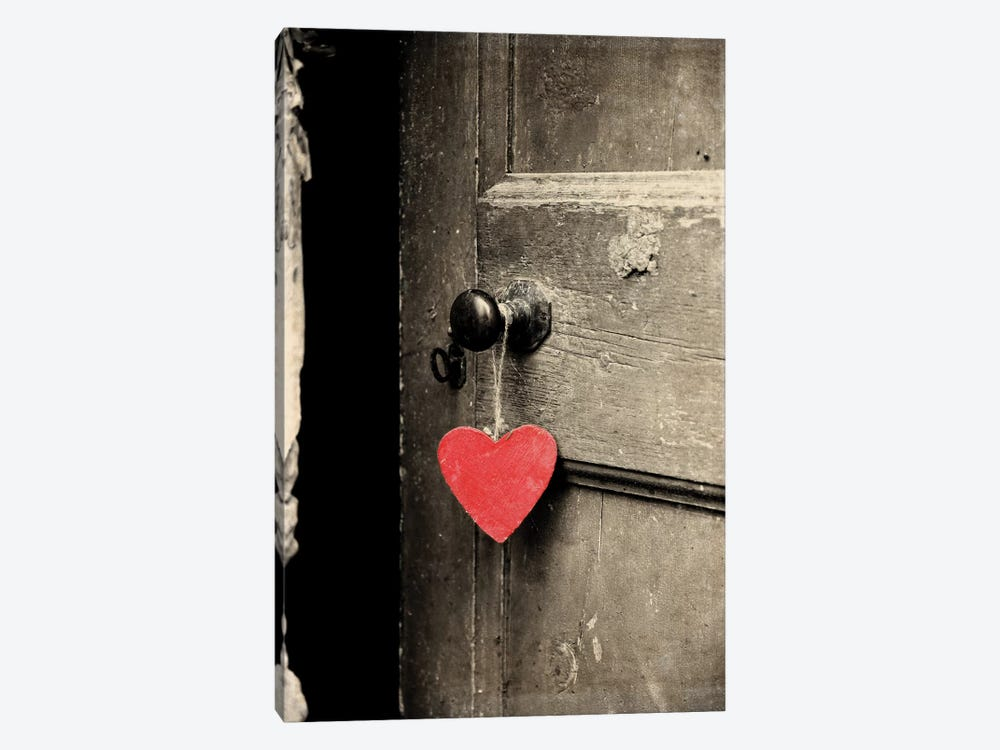 Antique Door With Red Heart by Tom Quartermaine 1-piece Canvas Artwork