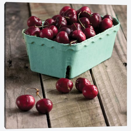 Red Cherries On Wood Canvas Print #TQU236} by Tom Quartermaine Canvas Print