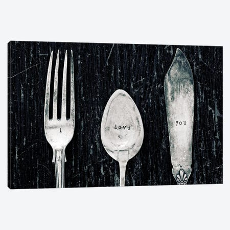 Antique Knife, Fork, And Spoon 3-Piece Canvas #TQU23} by Tom Quartermaine Canvas Art