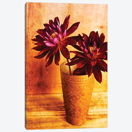 Red Dahlias In A Copper Vase Canvas Print #TQU242} by Tom Quartermaine Art Print