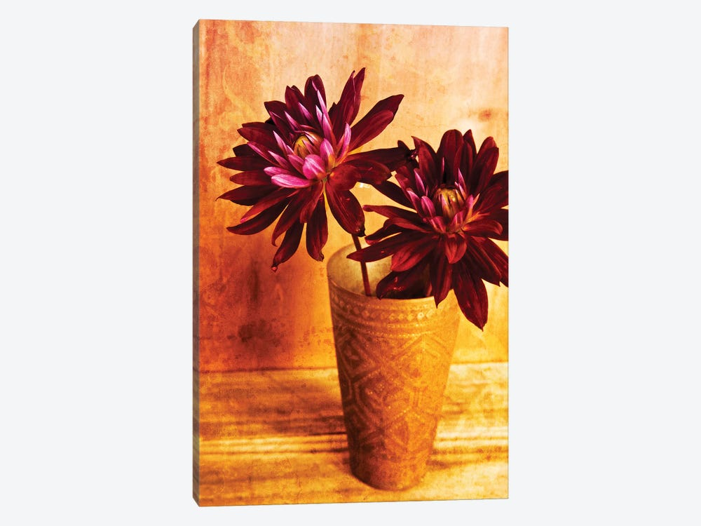 Red Dahlias In A Copper Vase by Tom Quartermaine 1-piece Canvas Art Print