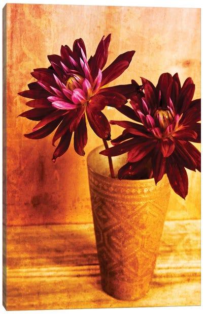 Red Dahlias In A Copper Vase Canvas Art Print