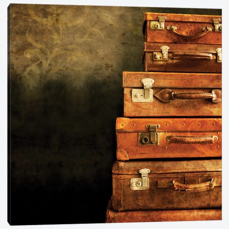 Antique Luggage Suitcases 3-Piece Canvas #TQU24} by Tom Quartermaine Canvas Art Print