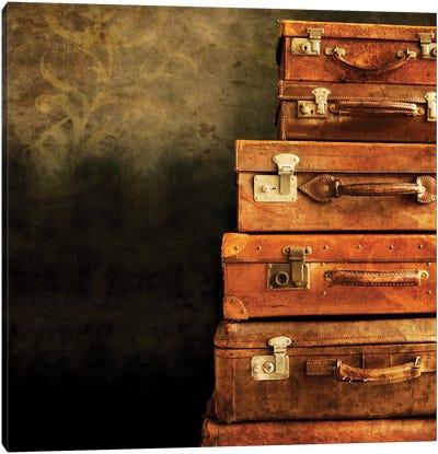 Antique Luggage Suitcases Canvas Art Print