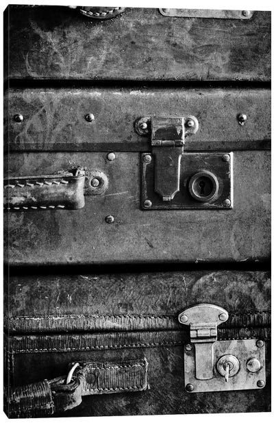 Antique Luggage Suitcases B&W Canvas Art Print