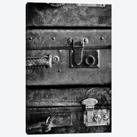 Antique Luggage Suitcases B&W 3-Piece Canvas #TQU25} by Tom Quartermaine Art Print