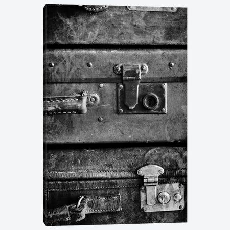 Antique Luggage Suitcases B&W Canvas Print #TQU25} by Tom Quartermaine Art Print