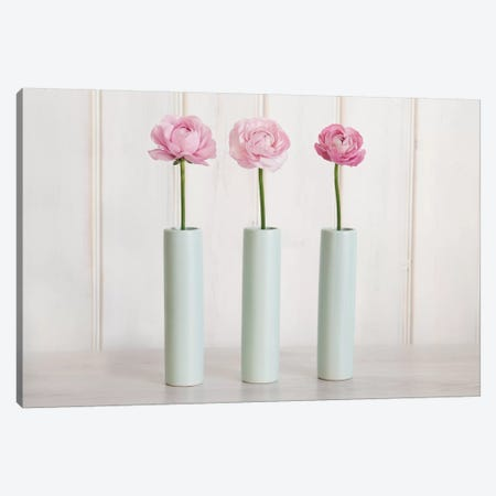 Row Of 3 Pink Flowers In Blue Vases Canvas Print #TQU272} by Tom Quartermaine Canvas Art
